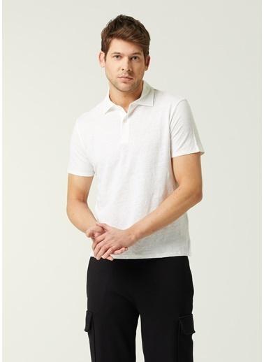 Sandro Sandro  Polo Yaka Keten T-shirt 101632897 Ekru